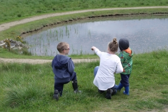 Kids at Northumberlandia 2 - Christine O'Neil