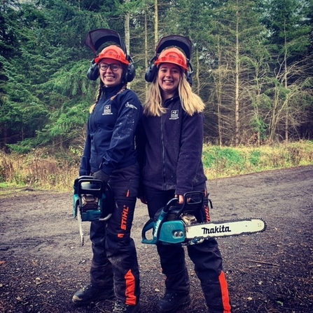Chloe Cook and Sophie Webster chainsaw training - Catch My Drift